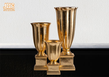 Gold Leafed Fiberglass Table Vases Homewares Decorative Items Trumpet Floor Vases