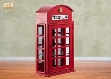 British Telephone Booth Cabinets Decorative Wooden Cabinet Red Color MDF Floor Rack Furniture